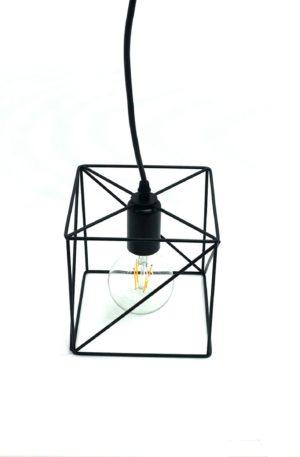 Κρεμαστό φωτιστικό οροφής μαύρο μονό Πολύγωνο Ε27