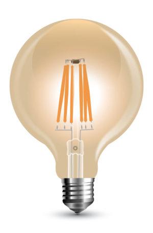 Λάμπα Led filament G80 6W θερμό Κεχριμπάρι