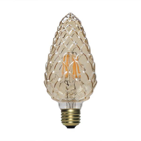 Λάμπα filament 6w σχήμα κουκουνάρι, Dimmable, κεχριμπάρι