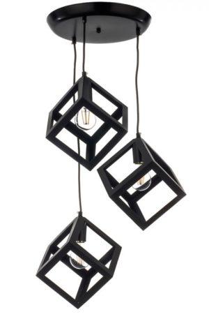 Τριπλό κρεμαστό φωτιστικό με τετράγωνα σε στρόγγυλο σχήμα
