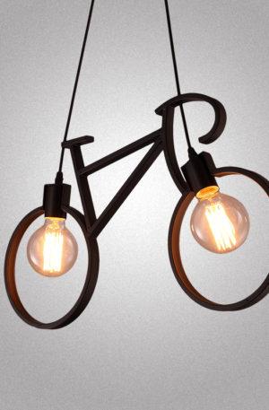 Κρεμαστό φωτιστικό σχήματος ποδηλάτου σε μαύρο χρώμα