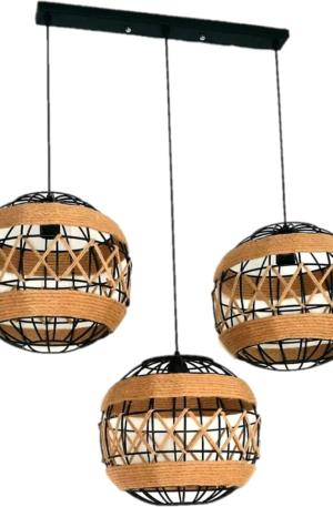 Τριπλό φωτιστικό σε σχήμα μπάλας με σχοινί