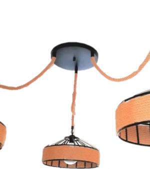 Τριπλό κρεμαστό φωτιστικό με σκοινί με διάμετρο κάθε καπέλου 40 εκατοστά